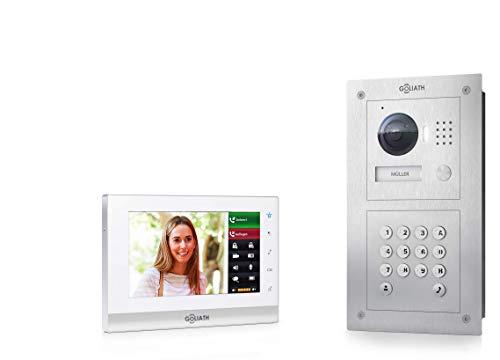Goliath IP Video deurintercom, inbouw, HD-deurstation, roestvrij staal, app met deuropener functie, touchscreen, codeslot, 1 familiehuis
