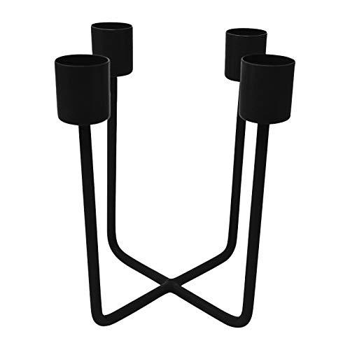 LaLe Living Kerzenhalter - Quattra - aus Eisen in Schwarz, 12,5x14,5cm, geeignet für 4 Stabkerzen als scandic Deko in Allen Räumen oder als moderner Adventskranz Weihnachtsdeko (Schwarz)