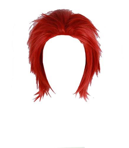 COSJP My Hero Academia Eijiro Kirishima Full Wigs Short Red Slick Back Fluffy Hair