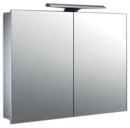 Mebasa MYBSPKALE8 Spiegelschrank Jokai 3D-Effekt, 2 Türen, 2 Glasablagen, 1 LED Leuchte, Kippschalter, vormontiert, TÜV geprüft
