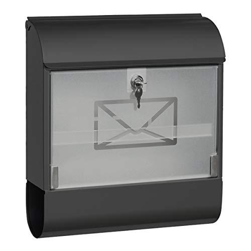 Wandbriefkasten Briefkasten Anthrazit Regendach Zeitungsrolle Glasfront abschließbar Postkasten