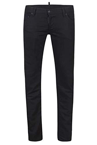 Dsquared² Regular Clement Jean Herren Men Jeans Hose Made in Italy Schwarz Black (48)