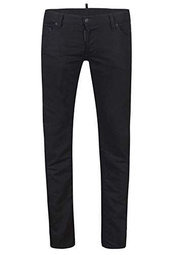 Dsquared² Regular Clement Jean Herren Men Jeans Hose Made in Italy Schwarz Black (46)