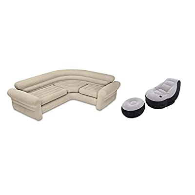 Intex Inflatable Corner Living Room Neutral Sectional Sofa & Lounge Chair Set