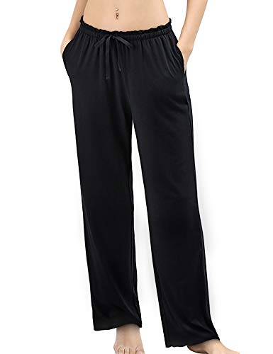 COLORFULLEAF Women's Bamboo Pajamas Pants Wide Leg Yoga Pants Lounge & Sleep Bottoms with Pockets (Black, M)