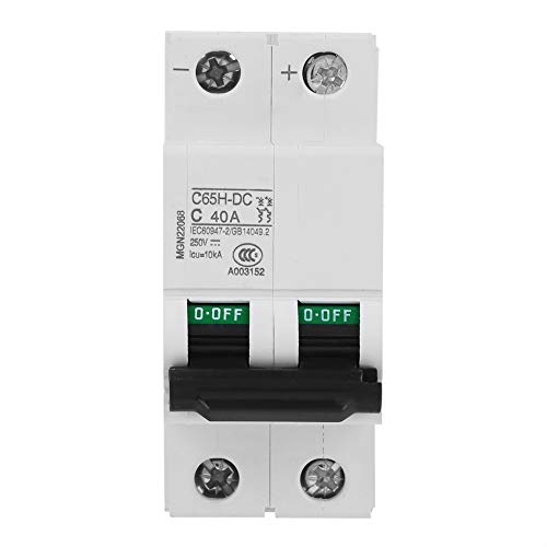 Interruptor de aire estable, protección contra fugas, 2P, disyuntor en miniatura de 250 V CC de bajo voltaje, para sistema de red de paneles solares(40A)