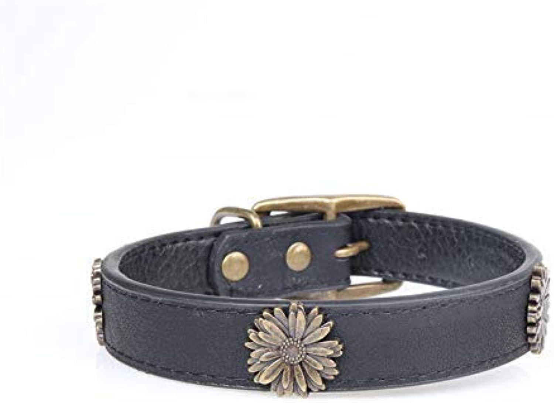 Lindou Pet collar Pet collar fashion chrysanthemum decoration in large dog collar,black,2.5×3545cm (color   Black 2.0×2936cm)