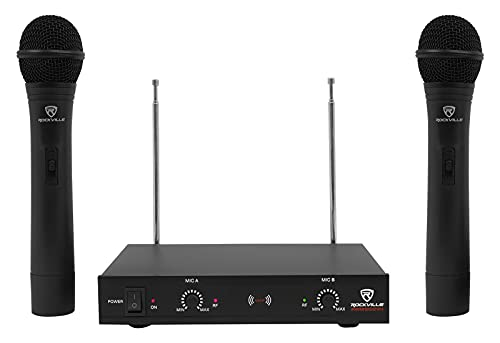 Rockville, 2 RWM1202VH VHF Wireless Dual Handheld Microphone System w/Mic Receiver v2