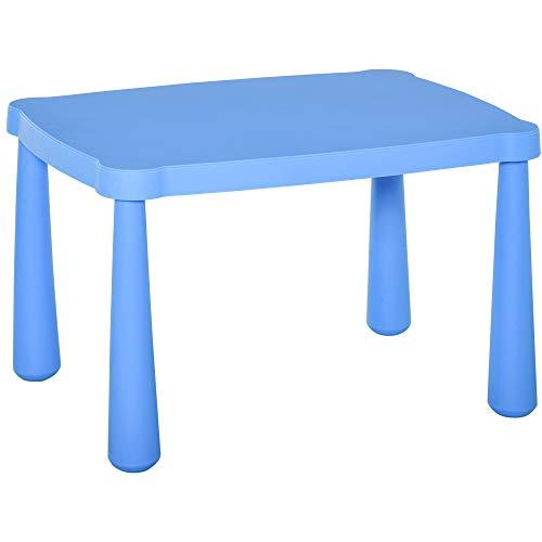 HOMCOM Mesa Infantil Rectangular de +2 Años con Pies y Bordes Redondos Mesita Infantil para Interiores y Exteriores Carga Máx. 30 kg 76,5x54,5x49,5 cm Azul