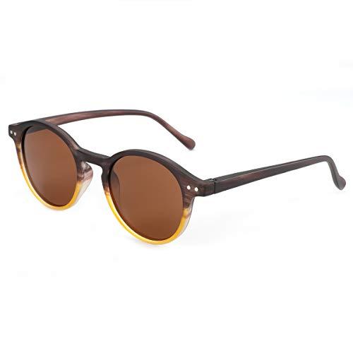 ZENOTTIC Gafas de sol Polarizadas Redondo Retrospectivo Cl¨¢sico Retrospectivo Lentes de sol Marco UV400 Para hombres y mujeres ¡ (MARRÓN + TÉ)