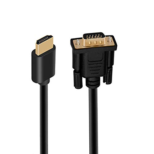 HDMI to VGA Adapter Cable Converter, 6ft/1.8m Gold-Plated Full 1080P HDMI Male to VGA Male Active Video Converter Cord Support Notebook, PC, DVD Player, Laptop, TV, Projector, HDTV, Monitor, Xbox Etc