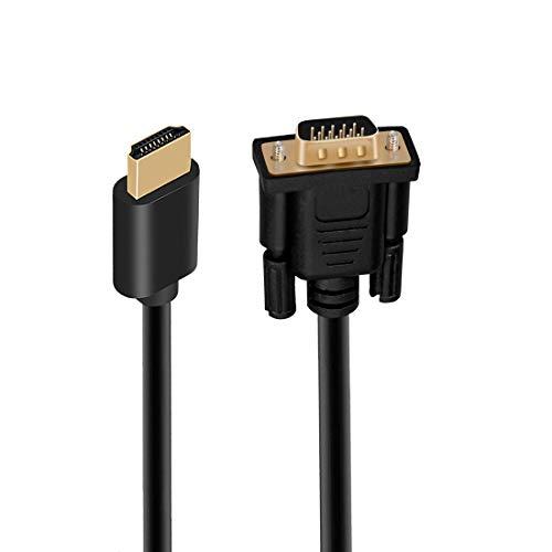 Cable adaptador HDMI a VGA, chapado en oro 1080P Activo HDMI Digital a VGA Analógico Video Adaptador Cable Convertidor para Escritorio, Proyector, HDTV, Raspberry Pi, Roku, Xbox (5 m)