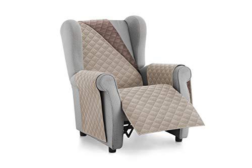 Textil-home Sesselschoner Relax MALU, 1 Sitzer - Reversibel gepolsterter Sofaschutz. Farbe Beige