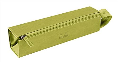 RHODIA 319016C – Estuche de plumero rodio anís – 23 x 5 cm – Apertura plana para usar como plumero – piel sintética – Almacena bolígrafos, lápices y rotuladores, pequeños suministros