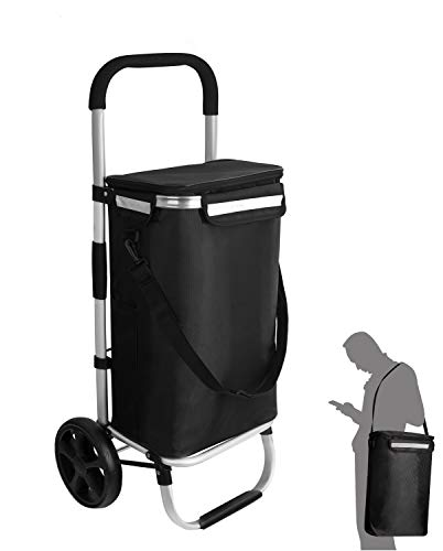 Ribelli Einkaufstrolley schwarz Polyester hochwertiger Aluminium Rahmen – Einkaufsroller klappbar – Seitentaschen, große Tasche mit Reißverschluss und Eistasche - als Tragetasche nutzbar – bis 45 kg