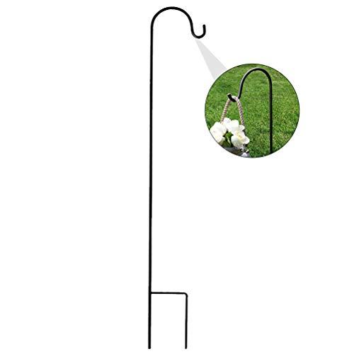 Doitool Gancho de Pastor de 35 Pulgadas Soporte de Planta Duradero de Hierro Colgador de Canasta de Plantas Colgantes Gancho de Linterna para Colgar Luces Solares Comederos para Pájaros