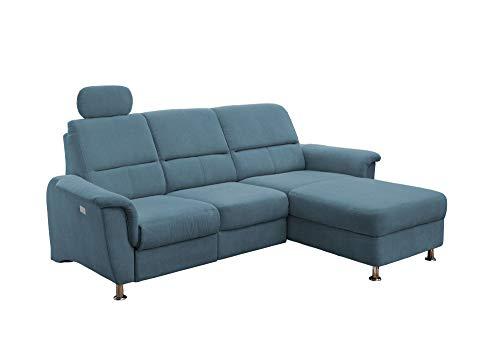 lifestyle4living Funktionssofa in blau, mit elektrischer Relaxfunktion, Verstellbarer Kopfstütze, Staukasten und USB-Anschluss, Aufstellmaß: ca. 231 x 165 cm
