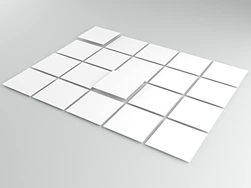 Tink Selbstklebende Fliesenaufkleber | Kunststoff-Folien für Küche und Bad, für Böden, Treppen und Holzoberflächen | (Weiß Glänzend, 10x10 cm // 20 Stück )