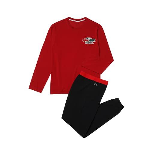 Lacoste Herren 4H8682 Pyjama, Männer Schlafanzug,Set aus Ober- und Unterteil,lang,zweiteilig,Rot,S