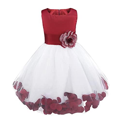 Freebily Vestido Elegante Boda Fiesta con Flores para Niña Vestido Blanco de Princesa para Chica Dama de Honor Vino 8 años