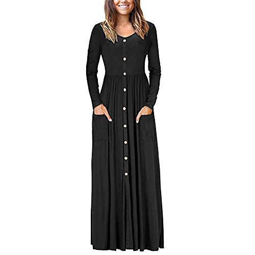 MRULIC Abendkleid Damen Langes Abendkleider Beiläufige Taschen Kurzschluss Hülsen Bodenlangen...