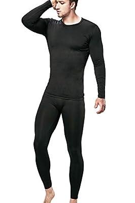 DEVOPS Men's Thermal Underwear Long Johns Set with Fleece Lined (Long Johns) Set (Medium, Black)
