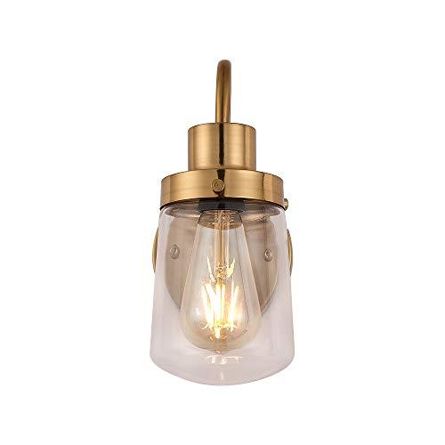 YAOHONG Bathroom Vanity Light Fixtures in Brushed Brass, 1-Light Farmhouse Vanity Light with Clear Glass Shades, Bathroom Lighting Fixtures Over Mirror, Vanity Light Fixture Indoor