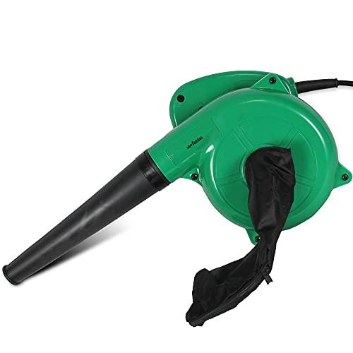 FISHTEC Mini Soplador de Hojas Eléctrico - Reversible a Aspirador con bolsa - Longitud del cable 2M - 500 W - 40CM - Verde