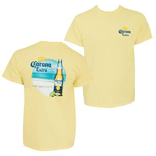 Corona Extra Find Your Beach Men's Tee Shirt Large Yellow