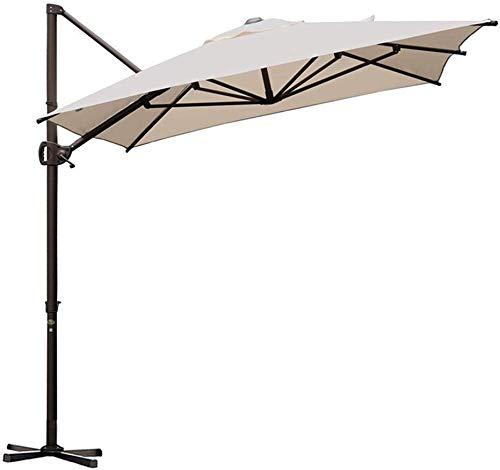 Abba Patio Rectangular Offset Cantilever Patio Umbrella with Crank Lift Tilt and Cross Base, 9 x 7 Feet, Sand