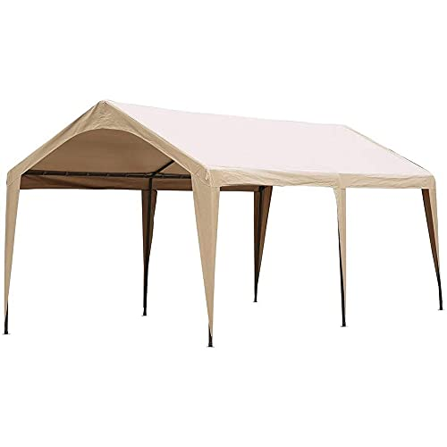 Abba Patio 10x20 ft Heavy Duty Carport Car Canopy Portable Garage Boat Shelter with Fabric Pole Skirts for Party, Wedding, Garden Outdoor Storage Shed 6 Steel Legs, Beige