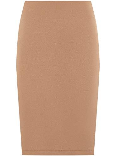 oodji Ultra Mujer Falda-Lápiz de Ante Sintético, Beige, ES 34 / XXS