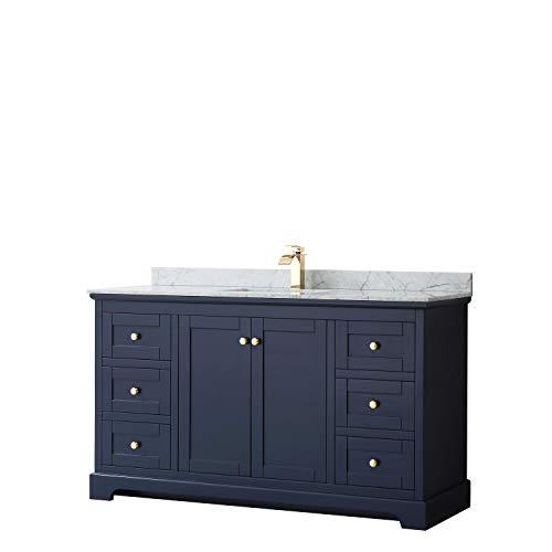 Avery 60 Inch Single Bathroom Vanity in Dark Blue, White Carrara Marble Countertop, Undermount Square Sink, and No Mirror