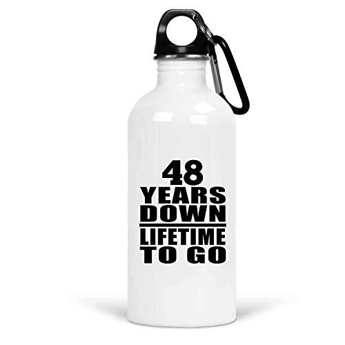 48th Anniversary 48 Years Down Lifetime To Go - Water Bottle Botella de Agua, Acero Inoxidable - Regalo para Cumpleaños Aniversario el Día de la Madre o del Padre