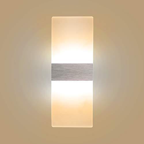 Applique Murale LED 6W Lampe Moderne Design Up and Down Luminaires Muraux Intérieur de mur Lampe Murale Acrylique Night Light Blanc chaud
