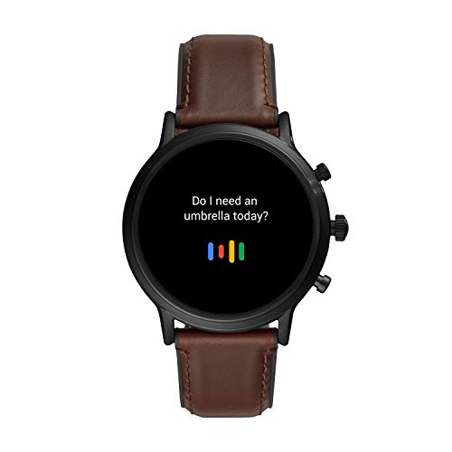 Fossil 44mm Gen 5 Carlyle Stainless Steel and Leather Touchscreen Smart Watch, Color: Black, Brown (Model: FTW4026)
