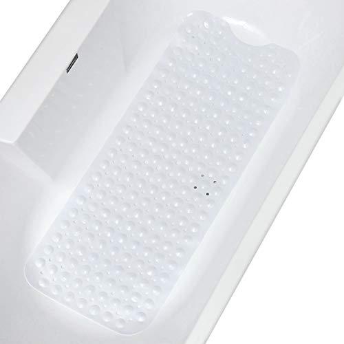 GeeRic Tapis de Bain, Tapis de Baignoire Antidérapants Extra Longs Tapis de Baignoire Ventouses Tapis de Douche pour Salle de Bain Résistant à la Moisissure 100 * 40 cm Sarcelle Blanc
