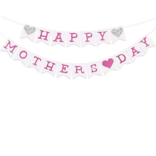 N\P Banner Signo del Día De La Madre Pancartas De Papel del Día De La Madre Guirnalda De Pancartas del Día De La Madre Feliz Pancarta De Papel Rosa