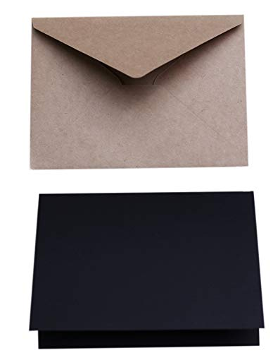 "A7 Size Envelope and Card Set | Black Pre Folded Card 5x7"" w/Envelope, A7 Kraft 50 Pcs | Wedding Invitation | Natural Brown Envelope"
