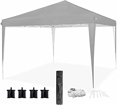 Qdreclod Pop Up Gazebo Tent 3m x 3m, Portable Instant Commercial Gazebo Canopy Outdoor Party Tent Garden Heavy Duty Gazebo Event Shelter With Carry Bag and 4 Leg Weight Bags, Stakes and Ropes (Grey)