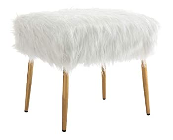 chairus White Vanity Stool Furry Ottoman Faux Fur Foot Rest Stool Comfy Fluffy Square Ottoman Stool Bedroom