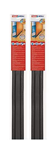 tesamoll Zugluftstopper für Glatte Böden in Grau / Zuschneidbare Türbodendichtung für Schutz vor Zug und Lärm / 95cm x 25cm (2 Stück Anthrazit & 1 Loopschal)