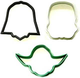 STAR WARS MOVIE CHARACTERS FACE HELMET OUTLINES DARTH VADER YODA STORM TROOPER SET OF 3 SPECIAL OCCASION COOKIE CUTTERS BAKING TOOL 3D PRINTED MADE IN USA PR1328