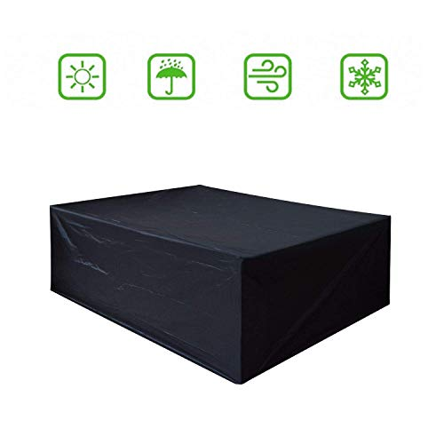 Dellcciu beschermhoes voor tuinmeubelen, 420D Oxford-stof dekzeil voor tafel en stoelen, outdoor, waterdicht, rechthoekig 242 x162 x 100 cm