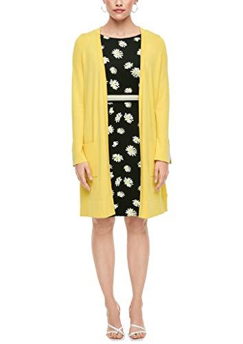 s.Oliver BLACK LABEL Damen Strickjacke aus feiner Qualität Summer Yellow 38