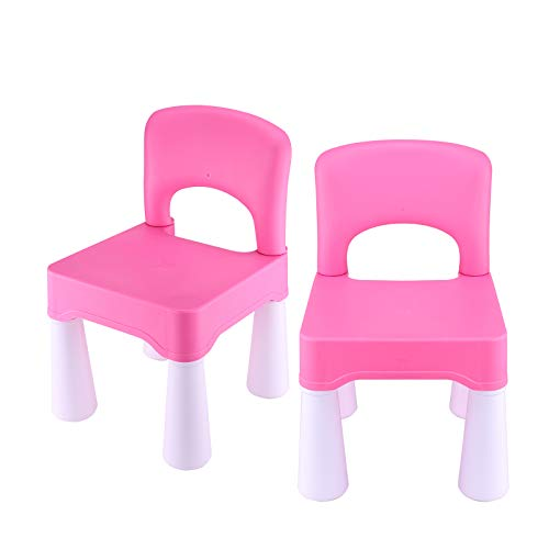 BITMEE Kids Chair, Toddler Chair, Toddler Chairs for Boys and Girls, A Free Portable Storage Bag, Ergonomic Design, Environmentally Friendly Durable Plastic-Barbie Pink×2