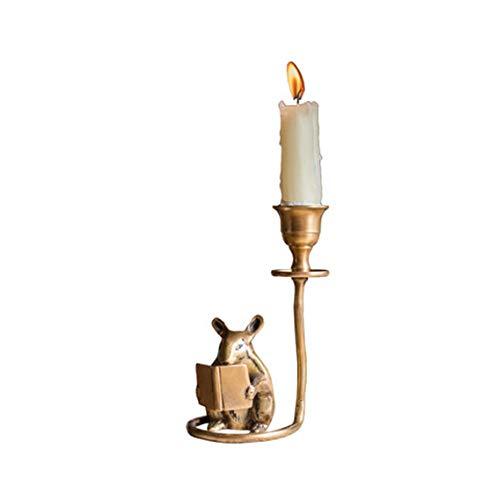 Xhtoe Kandelaar messing handgemaakte hamster kandelaar desktop studie decoratie retro kunstdecoratie geschenk voor huis home home romantische decoratie