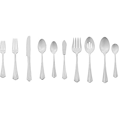 AmazonBasics 45-Piece Stainless Steel Flatware Set with Scalloped Edge, Service for 8