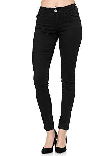 Elara Damen Stretch Hose Push Up Jeans Gummizug Chunkyrayan YA528 Black 42 (XL)