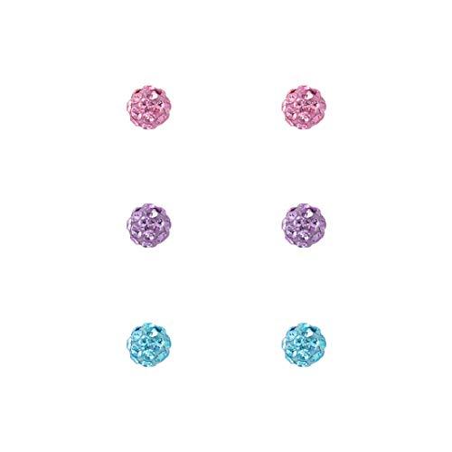 Laimons Juego de pendientes para mujer de plata de ley 925 con bola redonda con purpurina rosa, azul claro y lila de 4 mm